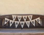 SALE JUST MARRIED Hessian Burlap Wedding Celebration Engagement Party Banner Bunting Decoration white hearts white text
