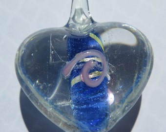 1PC - Glass Pendant - Heart - Clear with Blue - 35x30mm