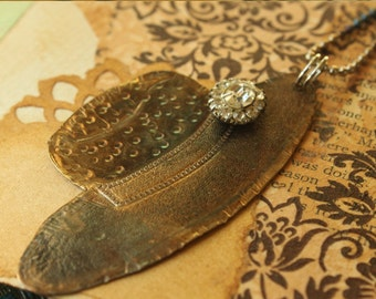 SALE...Rhinestone Cowgirl Hat pendant  - smashed vintage steel pendant - Western Cowboy Jewelry