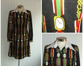 Reasonable Offer Sale 1960s to Early 1970s Long Sleeved Polyester Dress with Watch Print, Size Medium,  #23926