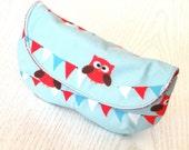 Cute red owls on blue fabric eyeglasses case,sunglasses case,fabric case,pouch