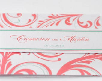 Romantic Wedding Invitation in Coral and Mint, Tri-fold Card with Belly Band