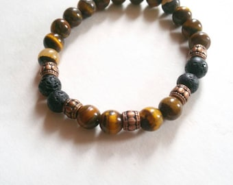 Mens tiger eye stretch bracelet-lava stone, copper - yoga bracelet