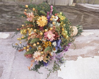 Country CALICO Bridesmaid Dried Flower Bouquet - For a Rustic Country Wedding