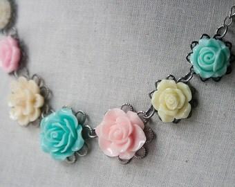 Handmade Resin Flower Bib Necklace Mint Green Rose Necklace Pink Rose Necklace Light Green Flower Pink Flower Necklace Flower Bib Necklace