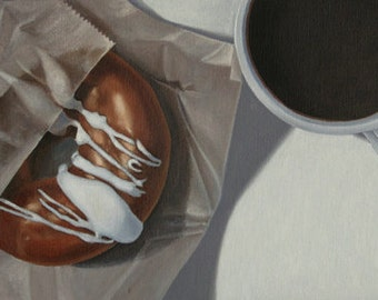 Coffee Break 2 - Original Oil Painting, Framed, by Sheila Cantrell - Still Life Art - Donut and Cup of Coffee