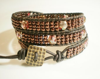 Bronze Wrap Bracelet Leather Wrap Bracelet Czech Glass Bracelet 3 Wrap Bracelet