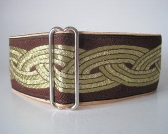 Brown Martingale Collar, Celtic Martingale Collar, Jacquard, Celtic, Knot, Greyhound Collar, Celtic Dog Collar, Greyhound Martingale