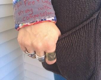 Eco Cuff BRACELET,sweatband style,cuff bracelet, patchwork cuff, eco cuff,eco jewelry, musical quote cuff,fiber cuff bracelet, rust mixZasra