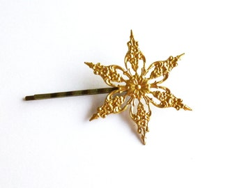 Gold Snowflake Bobby Pin Snow Flake Hair Clip Bride Bridal Bridesmaid Christmas Holiday Winter Weddings Accessories Womens Gift For Her