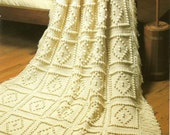Crochet Afghan Pattern - Diamonds and Popcorn Design - Hooked On Crochet 1988