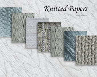KNIT PAPERS - Digital Paper Pack - 7 Knitting Patterned Papers - Stitch Samples,Instant Download Digital Printable