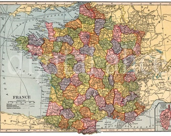 Vintage MAP of FRANCE -  Instant Download Digital Printable- Old FRENCH Map 8.5 x 11 , 11 x 16 -