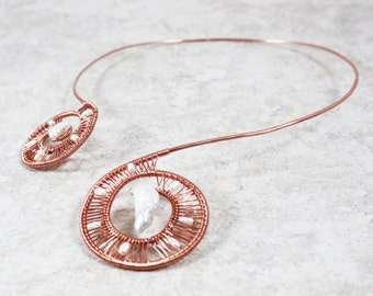 Torque Necklace. Torc Necklace. Collar Necklace. Hammered Copper Necklace. Copper Necklace. Pearl Necklace. Copper Jewelry.