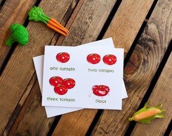 One Tomato, Two Tomato Notecard (greeting card, blank interior for thank you, get well, thinking of you, friendship, humor)