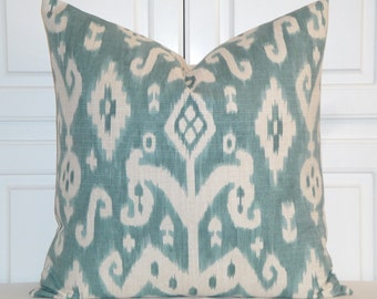 BOTH SIDES Or Front Only IKAT Decorative Pillow Cover - Throw Pillow - Accent Pillow - Teal - Ivory