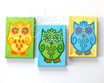 Owl paintings, 3 FUNKY OWLS No.2, set 3 5x7 canvas paintings, owl themed wall, home decor, art for kids