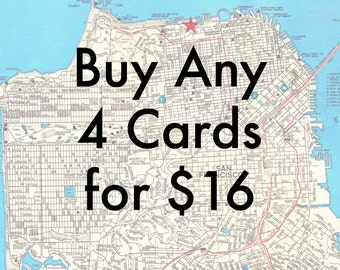 Map Card Set of 4 // Cards for All Occasions // Frameable Stationary // Bulk Deal