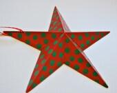 Christmas star decoration Wooden Christmas star Polka dot star decoration