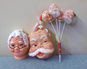 Rubber Santa and Mrs Claus Craft Heads - Set of 6