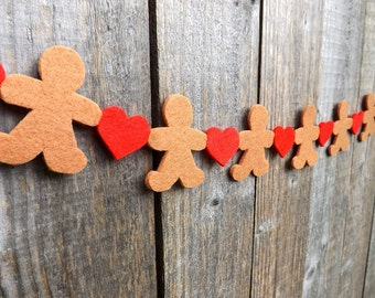 Christmas Garland, Gingerbread Man Garland, Red Hearts, Felt Garland, Gingerbread Bunting, Christmas Decoration, German Christmas, Bunting