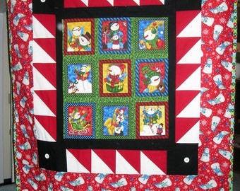 Snowman Blanket - Cotton Front and Flannel Bank - one of a kind
