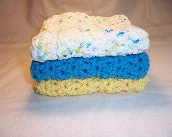 """Set of 3 Handmade Crocheted Dish/Wash Cloths,Crochet Dishcloths,Baby Bath Cloths,Bath and Beauty,Home and Living - 100% Cotton - 7"""" x 7"""""""