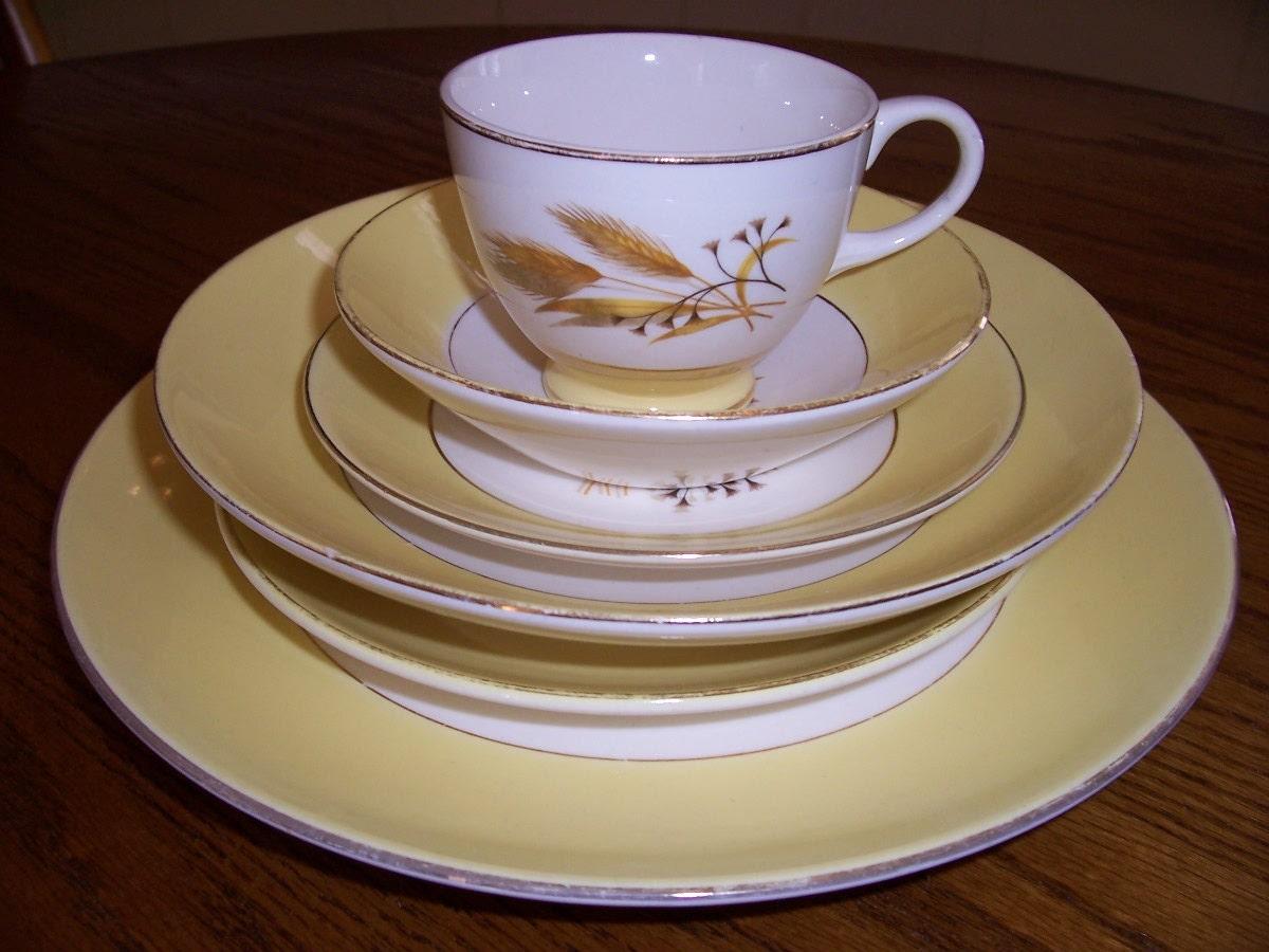 Vintage Semi Vitreous Dinnerware Set Autumn Gold by