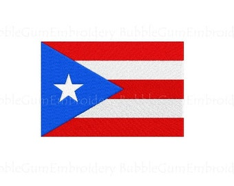 Puerto Rico Flag Embroidery Design Instant Download