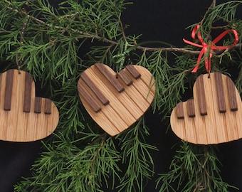 Handmade heart shaped piano keyboard ornament - oak and walnut