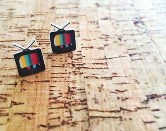 Retro tv shrink plastic earrings.