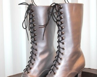 Metallic Bright Wedding Shoes Bridal Victorian Boots Lace up Polish Silver Boots Customized shoes