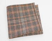 Men's Wool Pocket Square with pale orange, navy blue, earthy brown, and cream