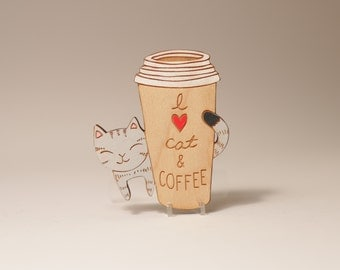 I heart cat and coffee brooch