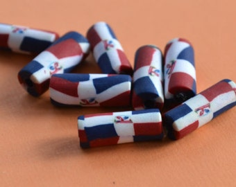 4pcs Flag Beads Dominican Republic 7x18mm Polyclay Polymer Clay