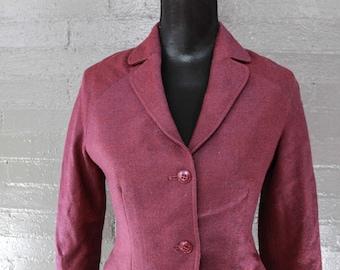 Vintage 80s Wool Plum Blazer Jacket by Halston