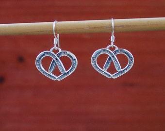 Double Horseshoe Heart Earrings Sterling Silver,Horse Love Jewelry,Horseshoe Jewelry,Equestrian Earrings