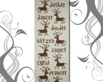 PDF Emailed Primitive Christmas Reindeer Cross Stitch Pattern 22