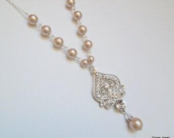 Pearl Necklace,Bridal Rhinestone Necklace,Ivory or White Pearls,Rhinestone Necklace,Statement Bridal Necklace,Pearl Bridal Necklace,STELLA