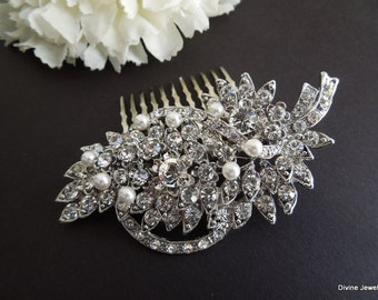 Pearl Bridal Hair Comb,Ivory or White PearlsRhinestone Bridal Hair Comb,Rhinestone Hair Comb,Bridal Hair Comb,Bridal Jewelry,Pearl,BARBARA