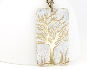 Ice White Snow Tree Necklace in Aged Antique Brass Woodland Jewelry Distressed Rustic Hand Painted Winter Tree Pendant Unique Gift for Women