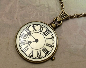 Pocket Watch Necklace, White Clock Face, Antiqued Brass