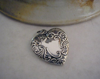 Vintage Heart Pendant - Sterling - Embossed - Marked 925 on Back - Just over One Inch wide - Lightly Polished - Sweetheart