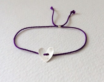 Purple silk thread bracelet with sterling silver heart