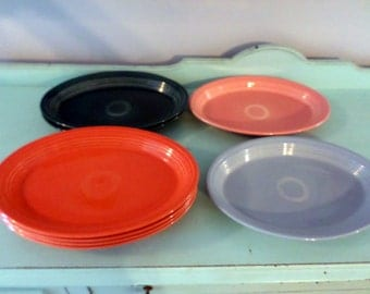 Fiesta Ware vintage Platters Orange and Dark Blue Green 13.5 x 9.5 inches