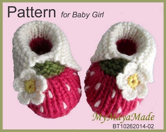 Knitting&Crochet Pattern - White Daisy Hot Pink Baby Booties PDF Pattern - BT1026201-02 - Instant Download