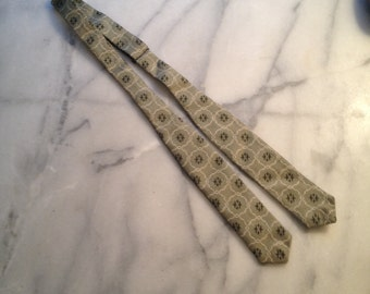 40s/50s Vintage Silk Gray Print Bowtie - Adjustable