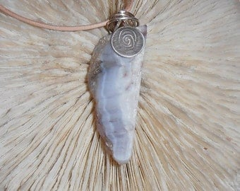 Galaxy- This Stone Talisman features a piece of polished Luna Agate that has a Silver disk and wire bail with an engraved Spiral accent.