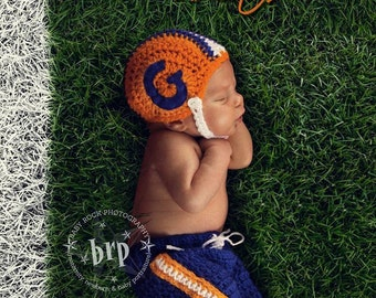 Baby Boy Prop/Newborn Football Player Prop/ Crochet Newborn Football Helmet / Newborn Team Football Set/ Custom Colors/