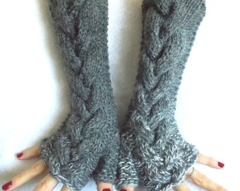 Grey Shades Fingerless Gloves Cabled Warm Arm Warmers Extra Long Angora Mohair wool